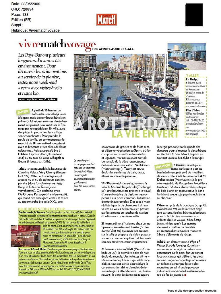 Concept hotel Stroom in Paris Match, mei 2009