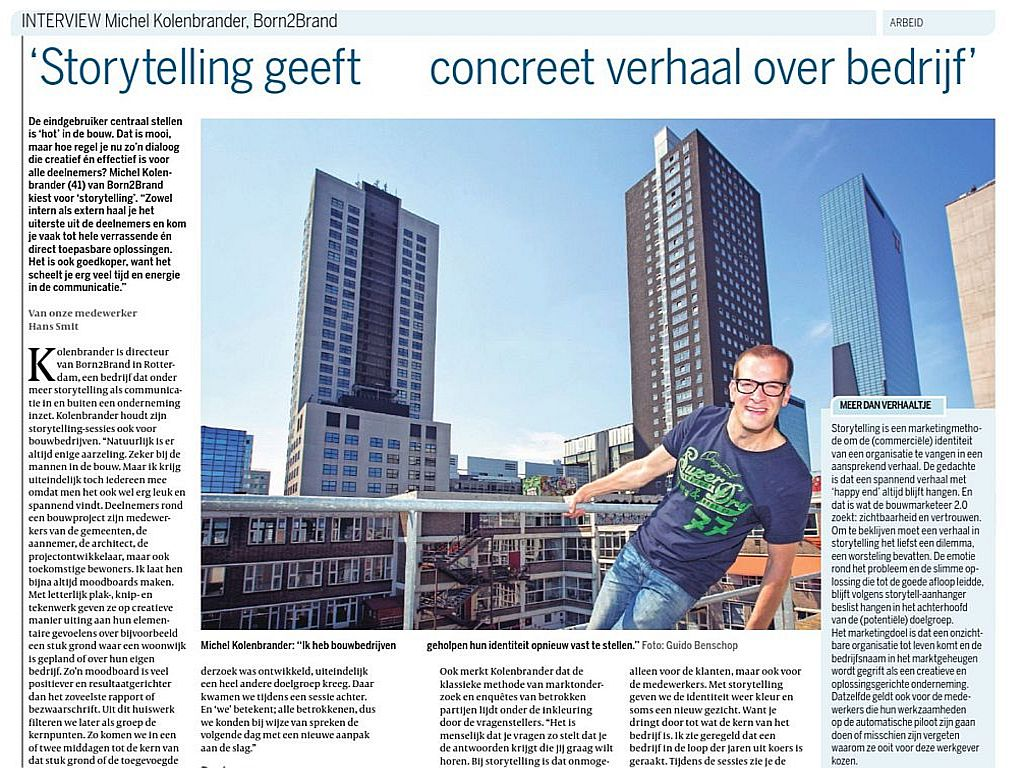 Interview met BornToBrand over Storytelling in Cobouw, augustus 2014